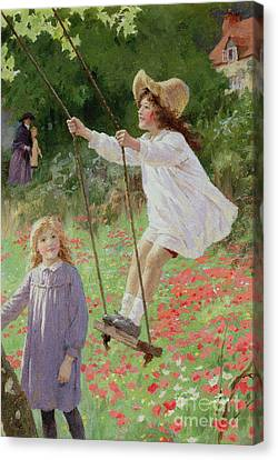 Country Cottage Canvas Print - The Swing by Percy Tarrant