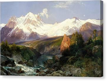 Thomas Moran Canvas Print - The Teton Range by Thomas Moran