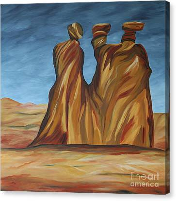 Canvas Print featuring the painting The Three Gossips by Christiane Schulze Art And Photography