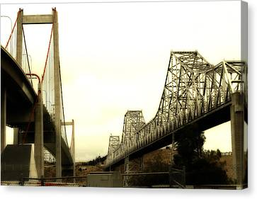 Benicia Canvas Print - The Two Carquinez Bridges At Crockett And Vallejo California . Aka Alfred Zampa Memorial Bridge . 7d8830 by Wingsdomain Art and Photography
