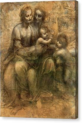Child Jesus Canvas Print - The Virgin And Child With Saint Anne And Saint John The Baptist by Leonardo da Vinci