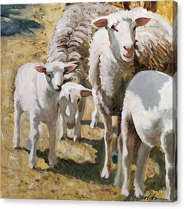 Canvas Print featuring the painting The Whole Family Is Here by John Reynolds