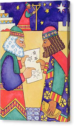 The Wise Men Looking For The Star Of Bethlehem Canvas Print by Cathy Baxter