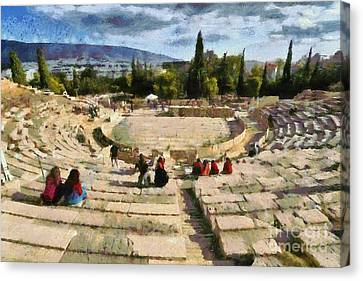 God Canvas Print - Theater Of Dionysus by George Atsametakis