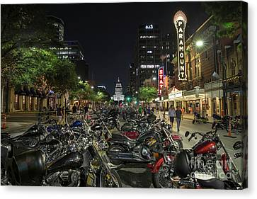 Thousands Of Custom Hogs Or Harley Davidson Motorcycles Line Up  Canvas Print