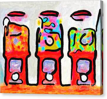 Three Candy Machines Canvas Print by Wingsdomain Art and Photography