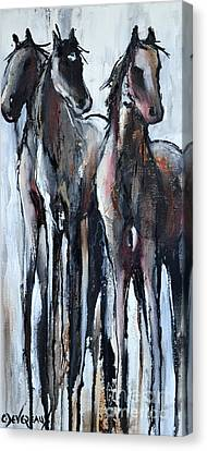 Canvas Print featuring the painting Three by Cher Devereaux