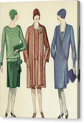 Three Flappers Modelling French Designer Outfits, 1928 Canvas Print by American School