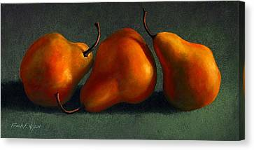 Three Golden Pears Canvas Print by Frank Wilson
