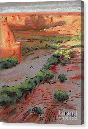 Three Horses In The Arroyo Canvas Print by Donald Maier