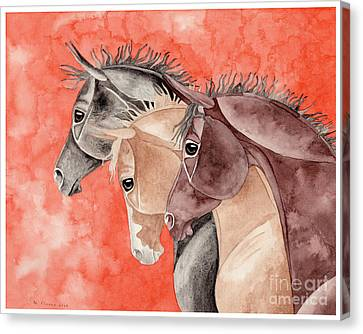 Three Horses On Orange Canvas Print by Suzanne Joyner
