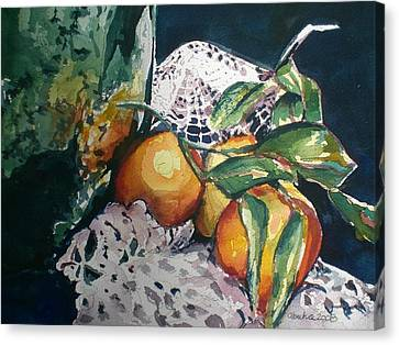Three Oranges Canvas Print by Aleksandra Buha