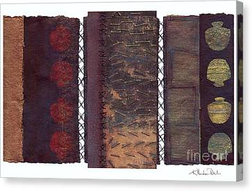 Canvas Print featuring the painting Three Panel Transitional Page Format  by Kerryn Madsen- Pietsch