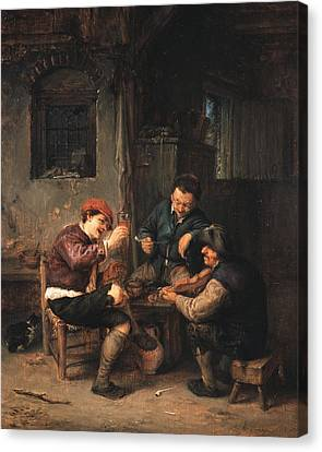 Three Peasants At An Inn Canvas Print by Adriaen van Ostade