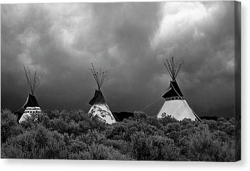 Canvas Print featuring the photograph Three Teepee's by Carolyn Dalessandro