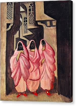 Three Women On The Street Of Baghdad Canvas Print by Jazeps Grosvalds