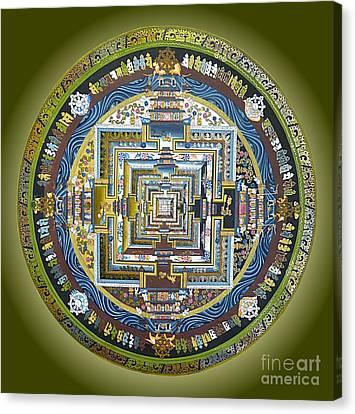Tibetan Mandala Green Canvas Print by Birgit Moldenhauer