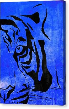 Tiger Animal Decorative Blue Poster 6 - By Diana Van Canvas Print by Diana Van