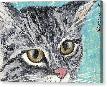 Canvas Print featuring the painting Tiger Cat by Reina Resto