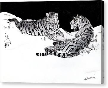 Tigers In The Snow Canvas Print by Hari Mohan