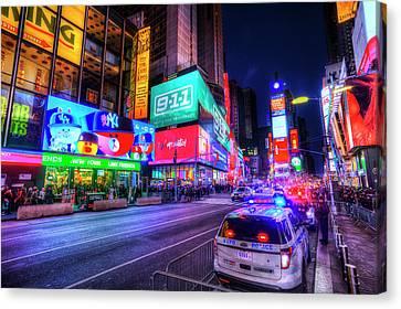 Ny Police Department Canvas Print - Times Square New York by David Pyatt