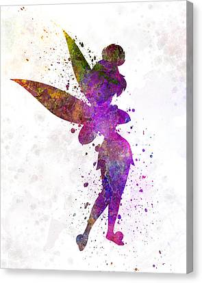 Tinkerbell In Watercolor Canvas Print by Pablo Romero