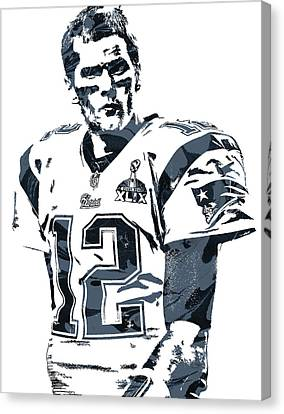 Tom Brady New England Patriots Pixel Art 6 Canvas Print by Joe Hamilton