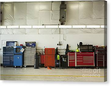 Tool Chests In An Automobile Repair Shop Canvas Print by Don Mason