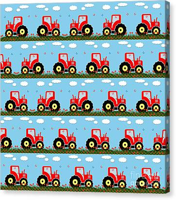 Toy Tractor Pattern Canvas Print by Gaspar Avila