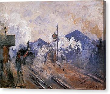 Track Coming Out Of Saint-lazare Station Canvas Print by Claude Monet