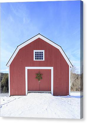 Traditional New England Red Barn In Winter Canvas Print by Edward Fielding