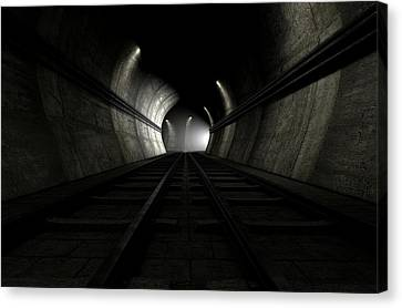 Tunnels Canvas Print - Train Tracks And Approaching Train by Allan Swart