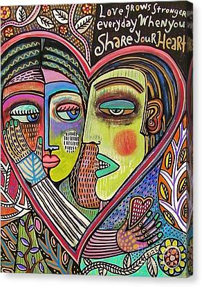 Tree Of Life Heart Lovers Canvas Print by Sandra Silberzweig