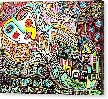 Tree Of Life Village Mermaid Canvas Print by Sandra Silberzweig