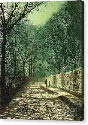 Atkinson Canvas Print - Tree Shadows In The Park Wall by John Atkinson Grimshaw