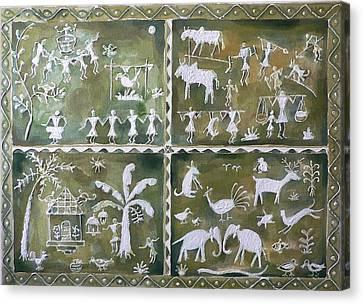 Tribal Art Canvas Print by Geeta Biswas