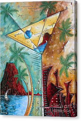 Tropical Martini Original Painting Fun Pop Art Style By Megan Duncanson Canvas Print