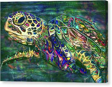Tropical Sea Turtle 2 Canvas Print by Jack Zulli