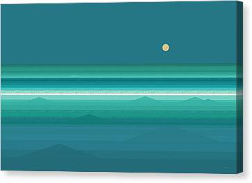 Canvas Print featuring the digital art Tropical Sea Moonrise by Val Arie