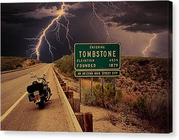 Trouble In Tombstone Canvas Print by Gary Baird