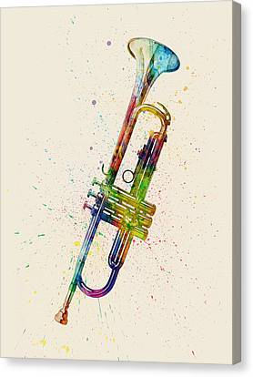 Trumpet Abstract Watercolor Canvas Print by Michael Tompsett