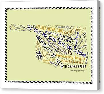 Oklahoma University Canvas Print - Tu Word Art University Of Tulsa by Roberta Peake