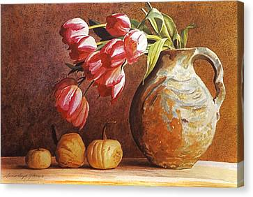 Tulips And Squash Canvas Print by David Lloyd Glover