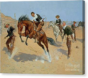 Turn Him Loose Canvas Print by Frederic Remington