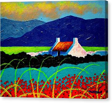 Turquoise Meadow And Poppies Canvas Print by John  Nolan