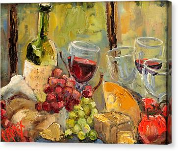 Malbec Canvas Print - Tuscan Table by Carole Foret
