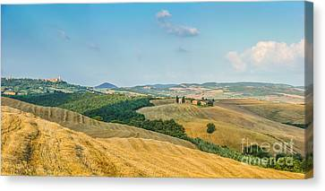 Tuscany Landscape With Rolling Hills At Sunset, Val D'orcia, Ita Canvas Print by JR Photography