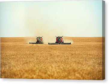 Twin Combines Canvas Print by Todd Klassy