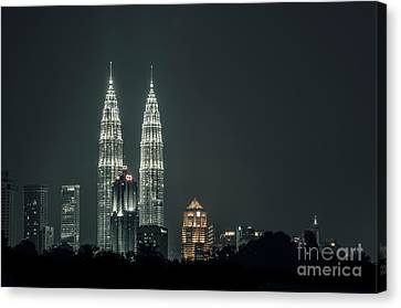 Canvas Print featuring the photograph Twin Towers by Charuhas Images