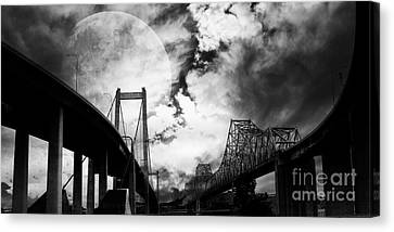 Bayarea Canvas Print - Two Bridges One Moon by Wingsdomain Art and Photography
